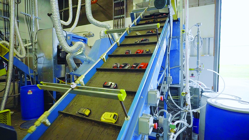 Lithium ion batteries on a conveyor