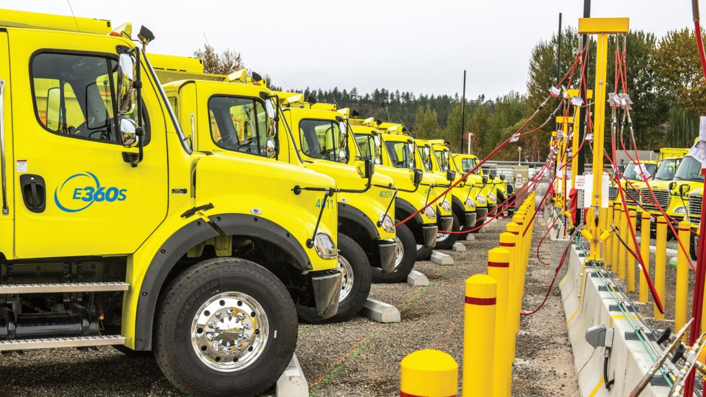 An array of Environmental 360 Solutions trucks parked