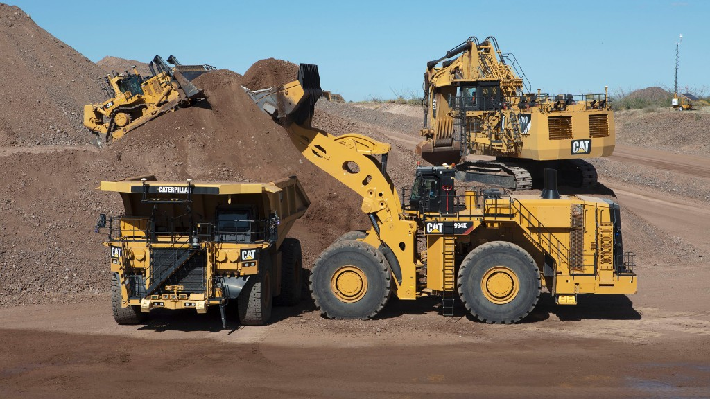 Caterpillar mining equipment work on the job site