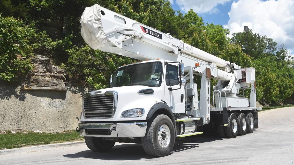 A Terex bucket truck parked on the roadside