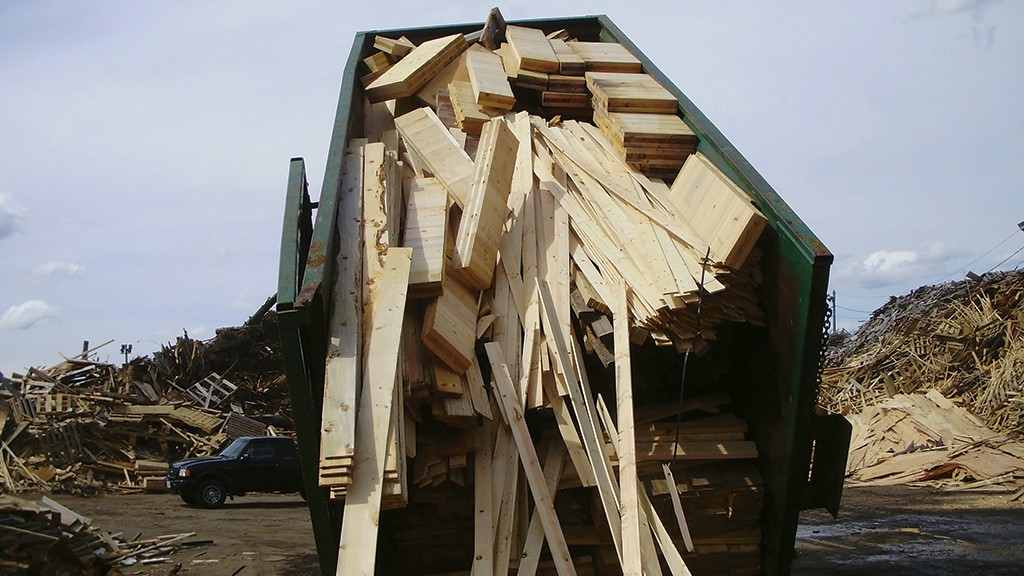 Wood waste in the back of a truck