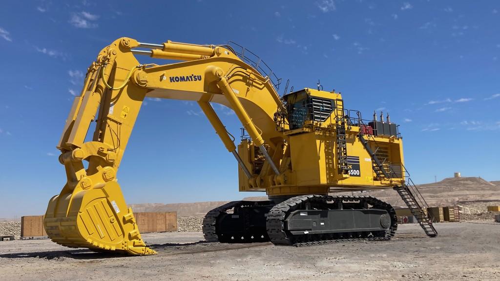 A Komatsu mining excavator on the job site