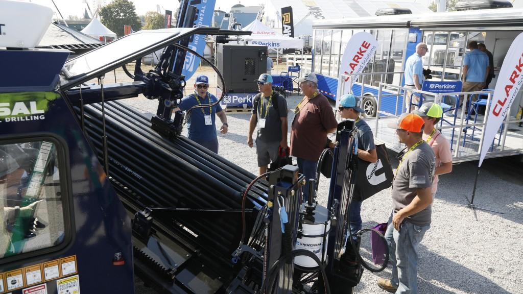 Utility show participants visit a booth