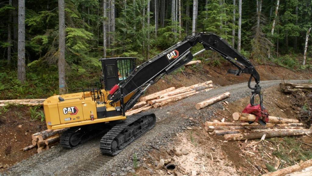 A Cat 568 on the logging site