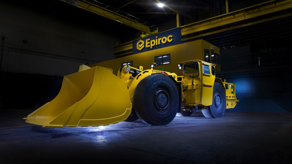 A Scooptram in an Epiroc facility