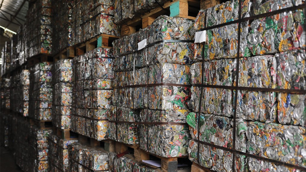 Stacked bales of aluminum cans