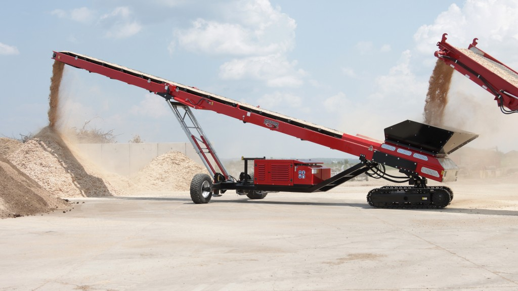 A Rotochopper stacking conveyor on the job site