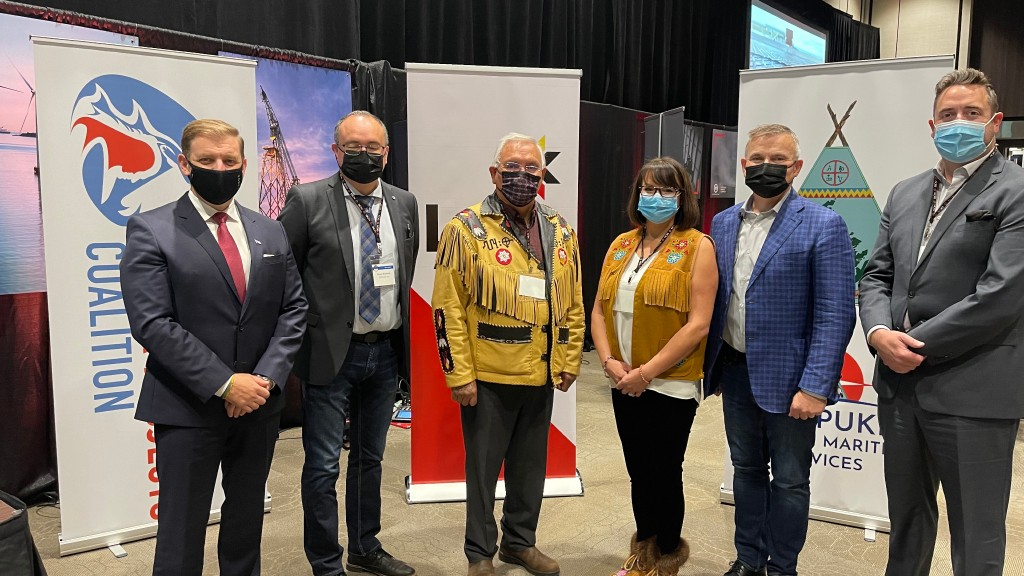 Left to right: NL Premier Andrew Furey; Shayne McDonald, Miawpukek First Nation; Chief Mi'sel Joe, Miawpukek First Nation; Sharleen Gale, FNMPG; Leo Power, CEO of LNG NL; Andrew Parsons, Minister of Industry, Energy and Technology.