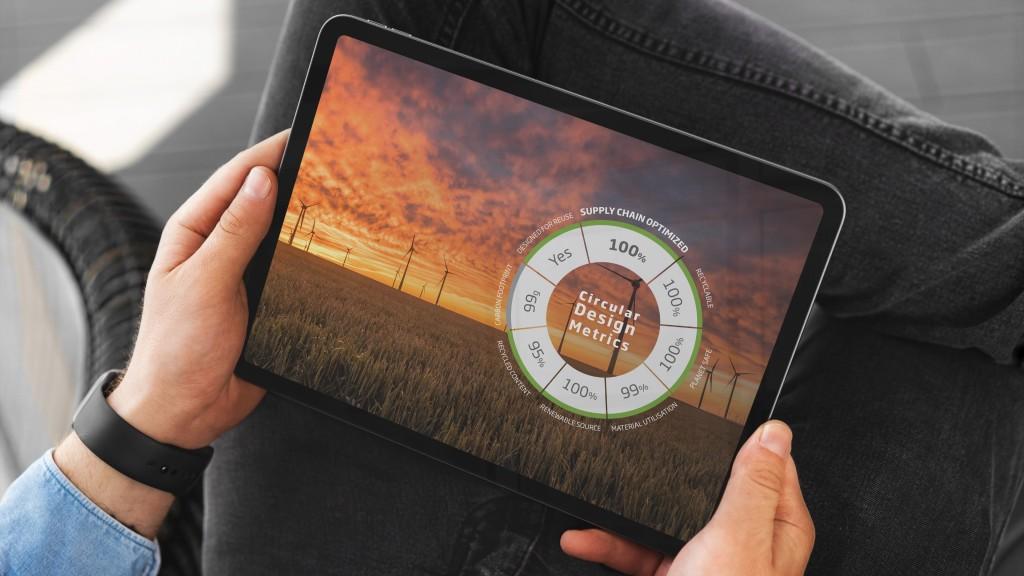 A tablet shows circular economy metrics