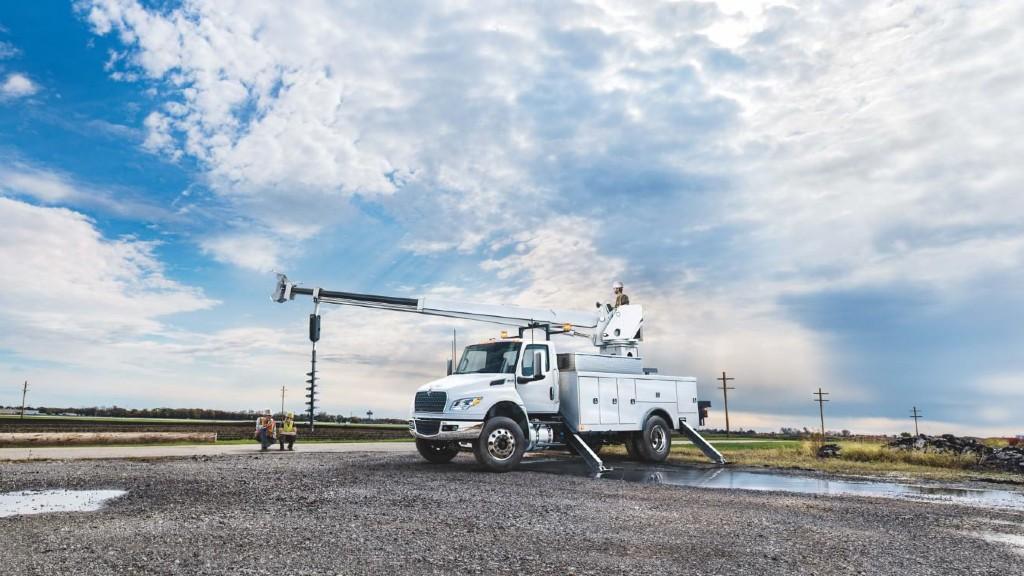 An MV Series truck on the job site