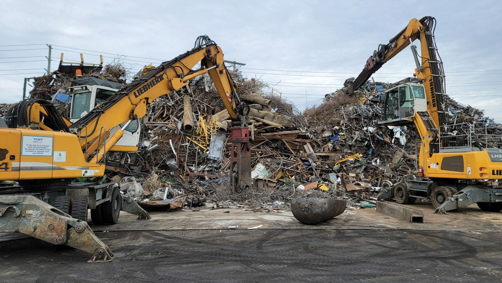 Two Liebherrs at the scrap pile at West Coast Metal Recycling