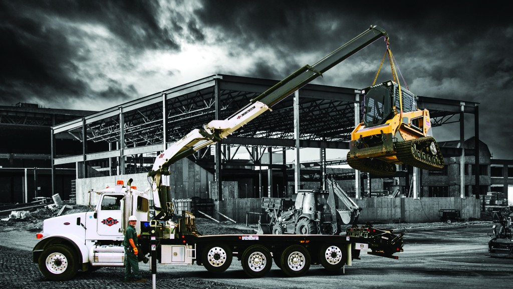 IMT articulating crane lifting compact track loader