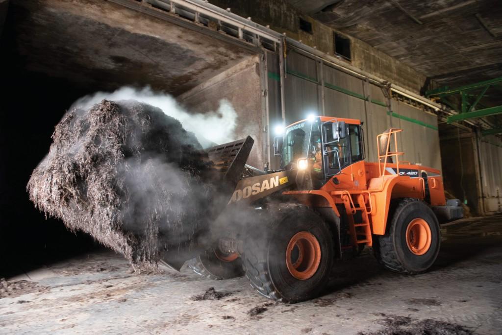 A Doosan wheel loader moving compost