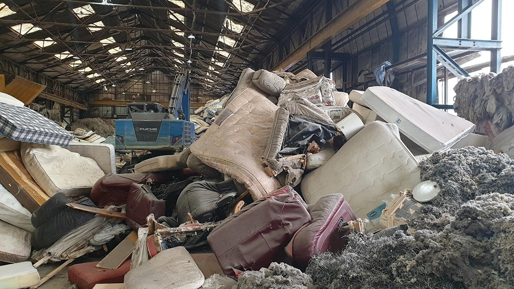 Pile of mattresses for recycling