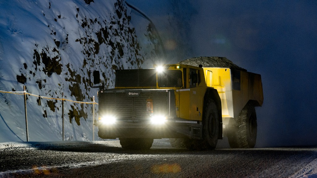 An Epiroc mining truck on the road