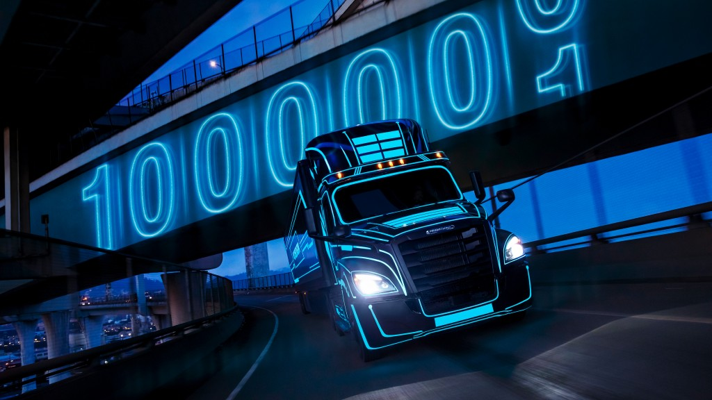 A neon-lined electric vocational truck