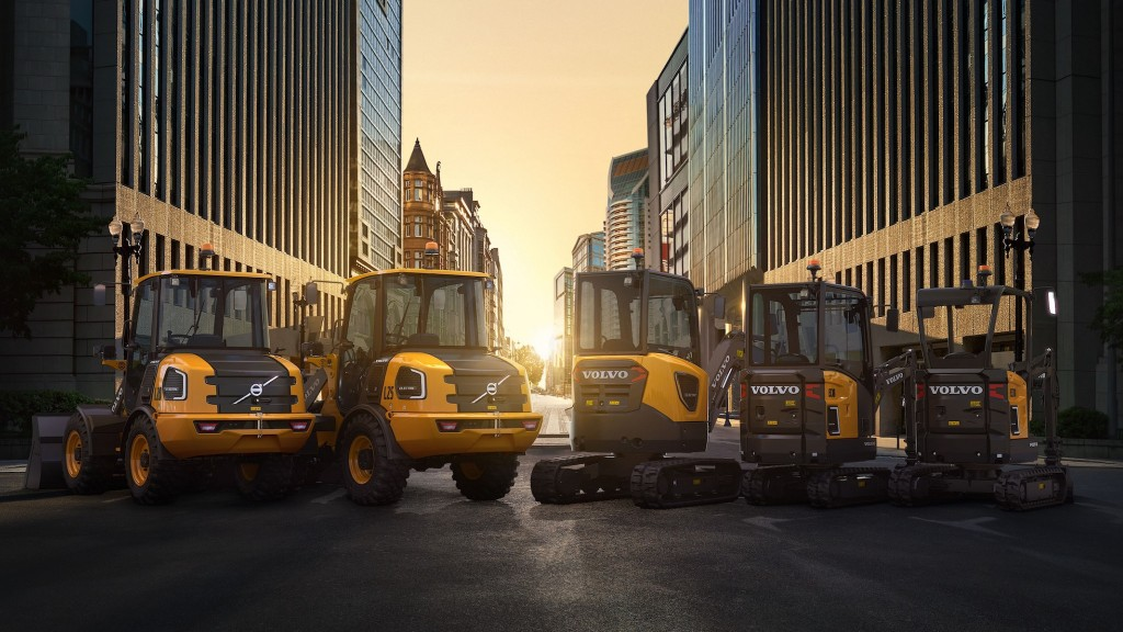 A lineup of Volvo compact electric machines