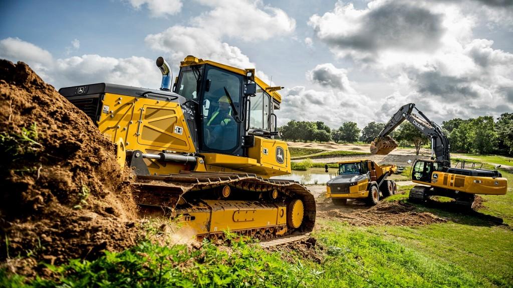 John Deere equipment moves dirt on the job site