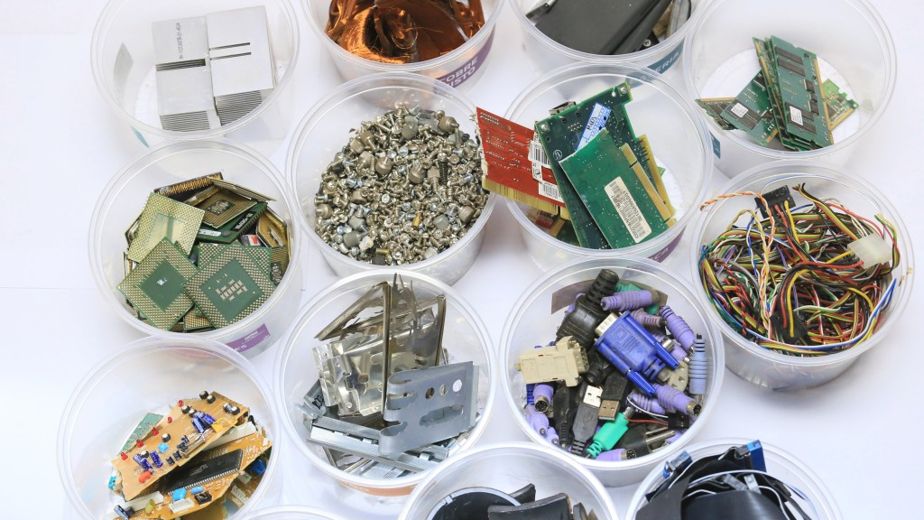 Sorted e-waste in plastic containers