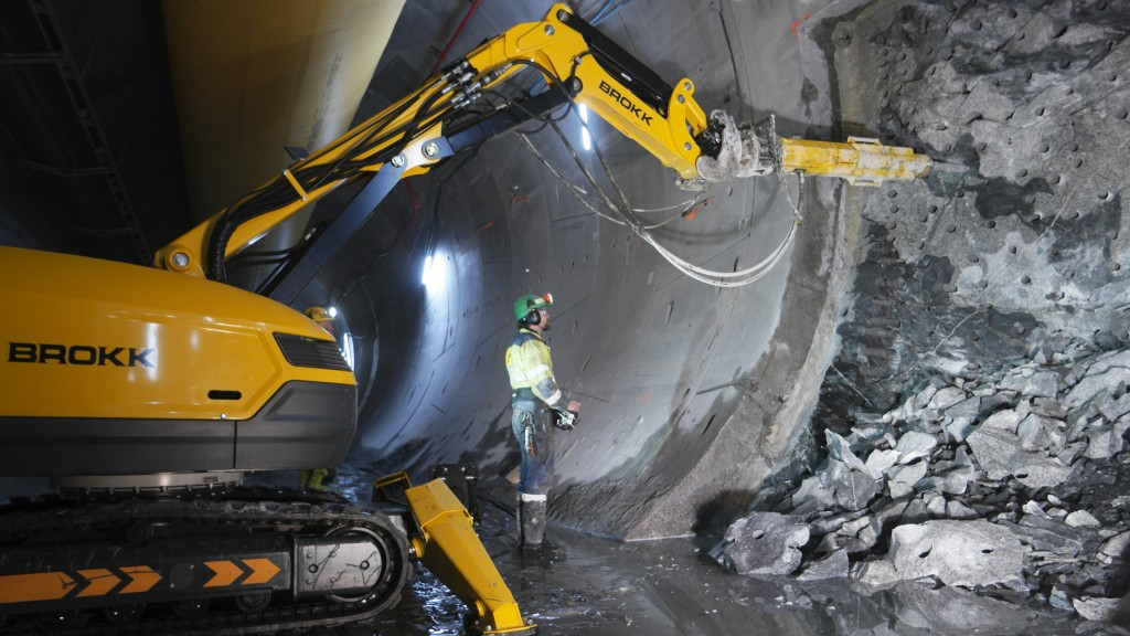 A rock splitter operating underground