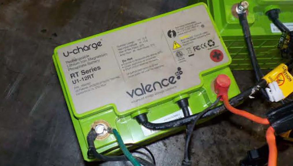 The recycling logo on two large green batteries