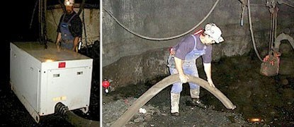 SV300 with one operator transfers 30 m3/h of muck and 3 inch rock through a 4 inch hose at this underground mine.