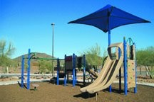 Recycled rubber mulch provides 16 feet of fall-height protection