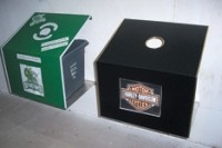 Wall mounted recycling stations designed for public buildings