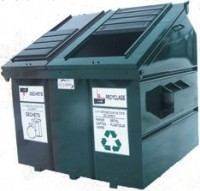 Double compartment container for recycling and waste