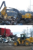 Excavator and loader customized for scrap yard