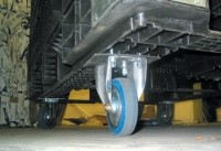 Plastic containers fitted with durable casters