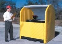 Hazardous drum storage features two-way entry