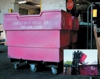 Scrap collection cart permits rotating on forklift
