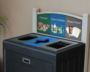Recycling station handles up to four types of waste and is reconfigurable