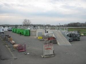 Modular recycling depots built from pre-cast concrete pieces.