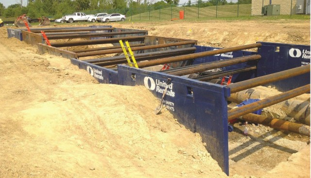 Trench boxes provided by United Rentals Trench Safety were determined to be the optimal equipment solution (shown here on another project).