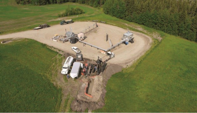 An aerial view of BPC Services Group's Alberta trenchless pilot project with Devon Energy.