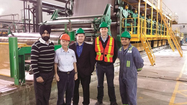 Left to right: Inside Greys' facility with Navjot Singh, Jim Richards, Nathan Mahon, Jaco Opperman and Rakesh Patel.