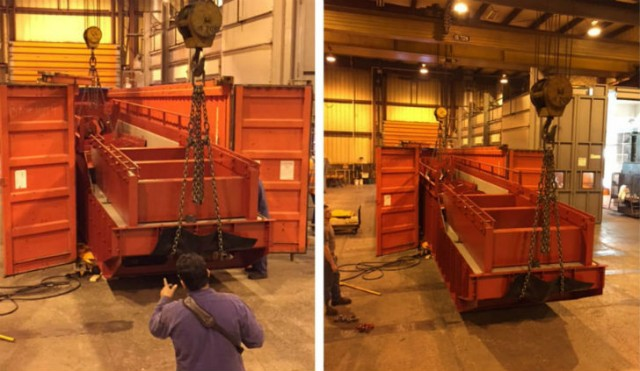 Loading the C&D System into shipping containers to be sent overseas!