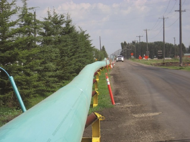 At Keswick on the River, a community in southwest Edmonton, a new 100-year flood protection system conveys the stormwater through an underground trenchless system using Fusible Brute PVC pipe from IPEX.