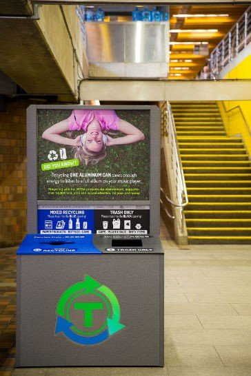 MassRecycle - One of two kiosks in Alewife Station - Photo credit Jason Kan