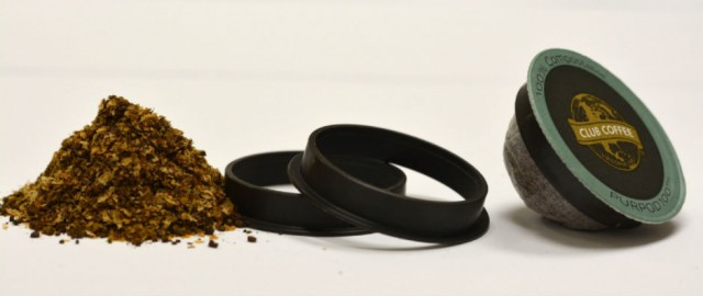 Coffee chaff, distinctive brown ring and the BPI certified 100% compostable PurPod100(TM) single-serve pod for coffee, tea and other hot beverages, and is compatible with most Keurig(R)-style brewing systems.