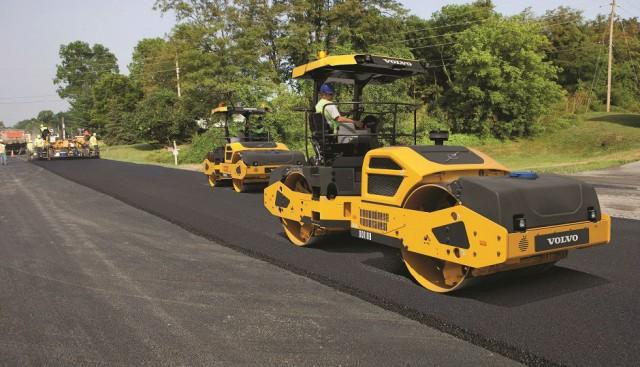 Volvo DD110B large asphalt compactor.
