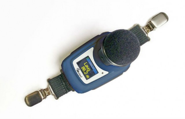 dBadge2 cable-free, shoulder-mounted noise dosimeter.