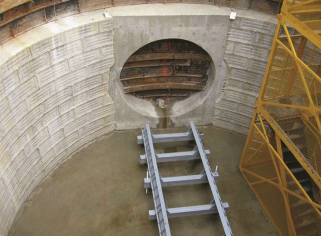 The metal cradle that serves as a launching pad for the TBM, ensures the tunnel stays on grade.