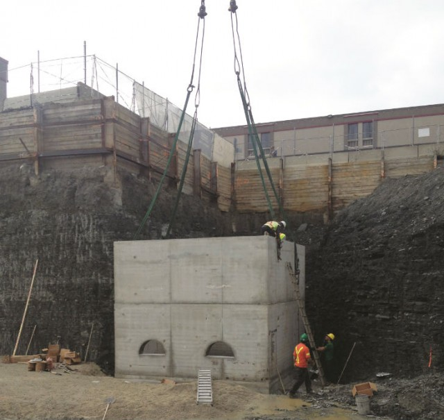 The detention tank is placed below the P1 level of the parking structure, to accommodate the large volume of storm water.
