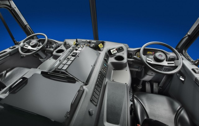 The cab features an enhanced HVAC system for improved airflow and climate control.