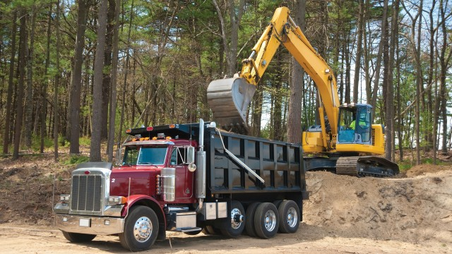 Dump truck operates in a demanding environment with the new Michelin X WORKS Z tire.