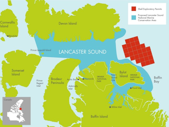 Map of offshore rights Shell has contributed to the Nature Conservancy of Canada and the proposed Lancaster Sound National Marine Conservation Area.  – (c) Shell (CNW Group/Shell Canada Limited)