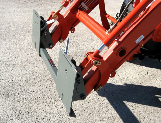 Worksaver has developed adapters for single cylinder loaders allowing the use of skid-steer attachments.